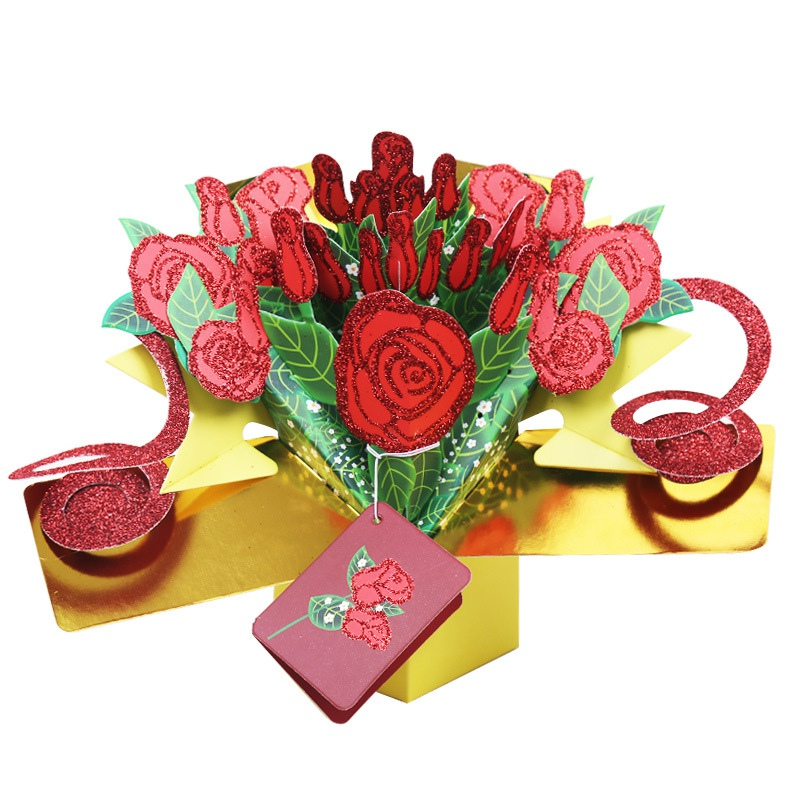 1pcs 3d Pop Up Cards Floral Bouquet Happy Birthday Valentine